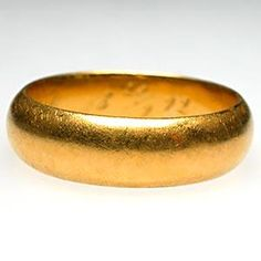 Victorian Era Mens Wedding Band Ring Solid 23K Gold, Engraved 1892