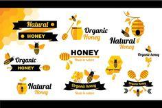 Check out 10 Logos honey&bee by Barcelona Design Shop on Creative Market (Templates, Logos)