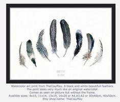 Feather aquarel art print. Woodland kunst aan de muur. Zwart-witte veer aquarel kunst. Zwarte vogel veren schilderij van TheClayPlay, Coastal strand kunst aan de muur. Tribal wall art. Kust-strand kunst aan de muur. Black and white feather schilderij. Schilderij van de veer. Hoge