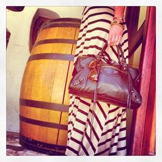 Wine tasting in my own #striped dress & #balenciaga bag with my mother's #vintage #hermes armcandy & 1970s shades