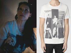 Elementary Season 2, episode 13: Joan Watson's (Lucy Liu) AllSaints Barred Band Crew T-Shirt #elementary #joanwatson #getthelook #allsaints