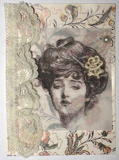 Decorative paper, lace, vintage image printed on vellum, lace flower, pearl earring. By magicjessnrach