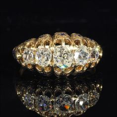 Sparkling Old European Cut 5 Stone Diamond Ring with Enamel Accents 1880's, from vsterling on Ruby Lane
