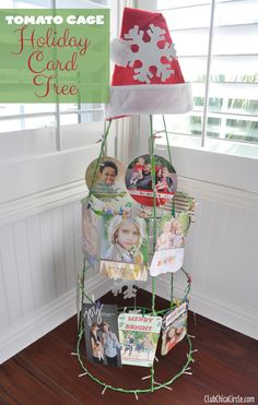 Looking for a creative way to display Christmas cards? Tomato Cage Holiday Card Tree | My Crafty Spot