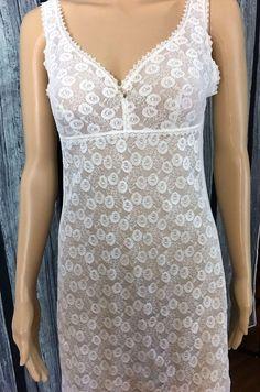 Vintage Beautiful Full Slip  tag Reads Trikota -Vrbove White Pretty Sheer Lace  #Unknown #Slip