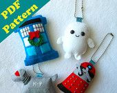 PDF PATTERN -  Dr. Who Keychain/Ornament Plush Set by Michelle Coffee (Digital Download)