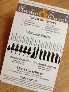 wedding day info card