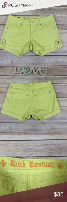 "Rock Revival womens 27 Olivia shorts pale yellow Pre-owned Rock Revival womens size 27 Olivia shorts pale yellow. Excellent used condition. No rips holes or stains.  Measurements: Length- 12"" Waist- 27"" Inseam- 3""  I ship fast! Pay before 4:30pm Monday thru Friday and I will ship the same day! Thank you for looking! Check out my other items! Rock Revival Shorts"