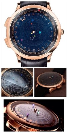 The most beautiful watch I have ever seen!!!  The Midnight Planétarium from Van Cleef & Arpels.  Besides showing the time, this watch also displays the movement of 6 planets in our solar system as they orbit the Sun. The movement of each planet is true to its genuine length of orbit: it will take Saturn over 29 years to make a complete circuit of the dial, while Jupiter will take almost 12 years, Mars 687 days, Earth 365 days, Venus 224 days and Mercury 88 days.