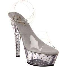Pleaser Women'S Stardust-608 Rhinestone Studded Ankle Strap P/F Sandals  Black