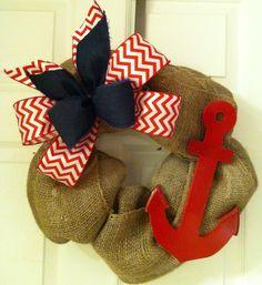 Chevron anchor burlap wreath