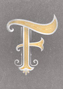 f / letters / traditional / gold / typography / font