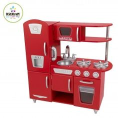 With this gorgeous Vintage Play Kitchen kids can pretend they are cooking big feasts for the whole family! With its close attention to detail these adorable wooden kitchens are an interactive hub of cooking fun!   Little chefs can use their imagination to create delightful dishes for familiy and friends. Hours of fun await... from turning knobs to opening doors to a cordless phone, little freinds are able to pretend they're making dinner just like mum and dad!Features: Solid wood…