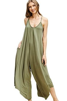 3f9a6d26cb0c Amazon.com  Annabelle Women s Asymmetrical V Neck Loose Fit Side Pocket  Comfy Overall Jumpsuit Rompers  Clothing