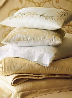 Bring sophistication to your master suite with the Novara Italian Percale Bedding Collection that boasts soft colors and intricate designs.