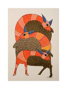 Buy Multi Color Deer Gondh Painting By Rajendra Shyam x Paper Acrylic… Pichwai Paintings, Mural Painting, Indian Paintings, Fabric Painting, Indian Artwork, Indian Folk Art, Traditional Paintings, Traditional Art, Madhubani Art