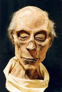 Preserved mummy of Ramesses II, who died age 90 in 1213 BC. Housed at the Cairo Museum.