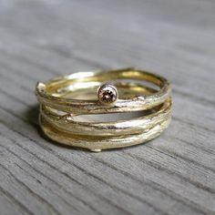 Chocolate Diamond Twig Rings