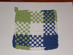 100 Cotton Loop Kitchen Potholder Blue Sage White | eBay