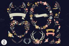 Check out Floral wreaths heart antler laurels by GrafikBoutique on Creative Market $6