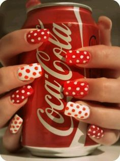 Coca Cola poka dot nails