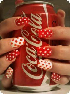 Coca Cola poka dot nails