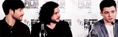 Colin Morgan, Kit Harington, and Taron Egerton attend the Testament of Youth Press Conference at the BFI London Film Festival - October 14, 2014. [Gif 4 of 5]