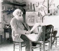 Camille Pissarro: L'artiste dans son atelier-after Franco Prussian war reconnected w his artist friends, including Cézanne, Monet, Edouard Manet, Pierre-Auguste Renoir& Edgar Degas.1873, Pissarro established a collective of 15 artists w goal of offering an alternative to the Salon. held their first exhibition 1874. The unconventional content &style represented shocked critics and helped to define Impressionism as an artistic movement