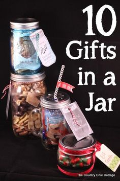 10 Gifts in a Jar -- get 10 ideas for gifts in jars in a fun 10 minute video.