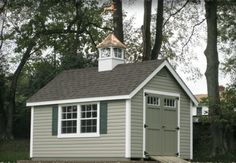 Green Backyard Shed With Almond Trim I Also Love The