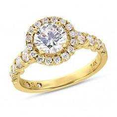 PassionStone, 14K Rose Gold SI2 Round Diamond Semi Mounting Ring With CZ Center, 4/5 ctw