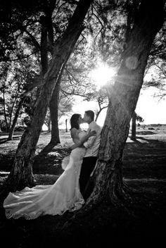 Trash the dress photoshoot. Beach wedding TTD trees forest wedding photography