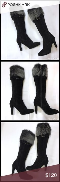 """Carisma Black Suede Boots Excellent used a couple of times condition. Made in Italy. Black suede boots with gray and black rabbit fur trim. Inside zip closure with buckle accent. Approximately 18"""" tall. 3.5"""" heel with 1/2"""" of platform. Suede heels as well. Absolutely Beautiful Boots! Carisma  Shoes Heeled Boots"""