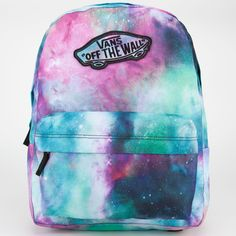 Vans Realm Backpack ($38) ❤ liked on Polyvore featuring bags, backpacks, shoulder strap backpack, tie dye backpack, padded backpack, blue bag and blue tie dye backpack