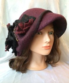 Designer warm wool felted hat cloche. Tatiana123 by Tatiana123