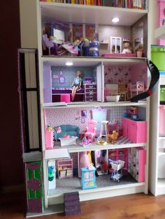 Home for Barbie with elevator, stairs and real lights. http://barbie.gabrielle-art.nl/#!album-99 www.gabrielle-art.nl