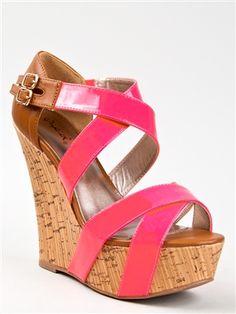 Neon wedge sandals $33.90