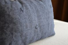 Embroidered cushion cover blue linen stitched by EthicalLifeStore