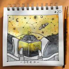 • DEEP • #inktoberday20 #deep #inktober2017 #inktober #inking #tania_ink #inkmyday #illustration #drawing #reading #book #booklover #space #cosmic #blackandyellow #imagination #inspiration