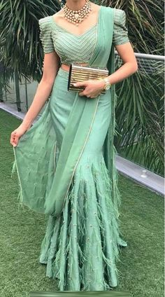 Pastel Green Silk and Georgette Designer Mermaid Style lehenga Indian Fashion Dresses, Indian Bridal Outfits, Indian Gowns Dresses, Dress Indian Style, Indian Bridal Fashion, Indian Designer Outfits, Indian Wear, Shadi Dresses, Fashion Outfits