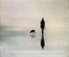The journey of a thousand miles begins with one step - inspirational quote print