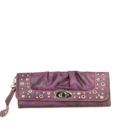 Purple Studded Turnlock Wristlet Wallet