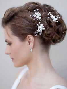 Mother of Pearl Hairpins by Hair Comes the Bride  www.HairComestheBride.com