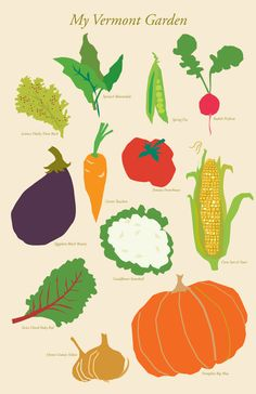 garden poster vegetables my Vermont Garden 11 x 17 inch print wall art via Etsy.