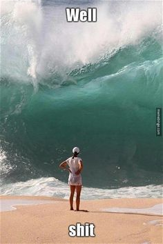 See that wave? That's the wave of homework that I have to do and see that women who's screwed? That's me. (excuse the cuss word)