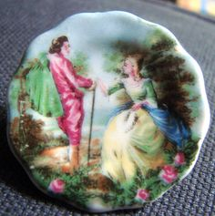Painted Bone China Brooch by Coalport by AntiqueAlchemists on Etsy, $15.00