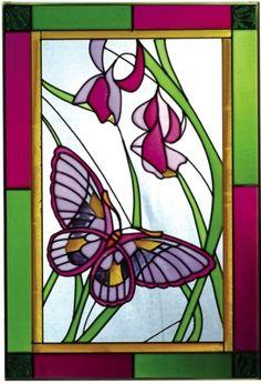 Papillons en vitrail