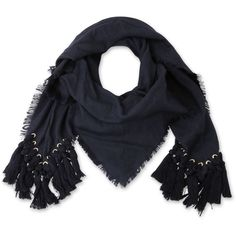 Chloe pompon scarf ($1,005) ❤ liked on Polyvore featuring accessories, scarves, navy blue shawl, navy shawl, navy scarves and navy blue scarves