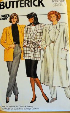 4247 Butterick Misses' coat and jacket with notched collar by Demi Dress Design Sketches, Fashion Design Sketchbook, Fashion Design Drawings, Fashion Sketches, Illustration Mode, Fashion Illustration Vintage, Vogue Sewing Patterns, Vintage Sewing Patterns, Vintage Vogue
