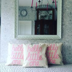 Hello little one cushion cover for baby shower by CheekySewEtSew